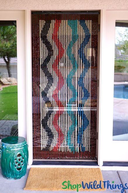 """Wooden Bead Curtain - """"Primary Wave"""" - 35"""" x 78"""" - 60 Strands (Extra Coverage)"""