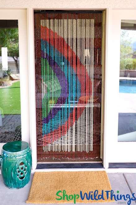 """Wooden Bead Curtain - """"Rainbow"""" - 35"""" x 6 1/2' - 60 Strands (Extra Coverage)"""