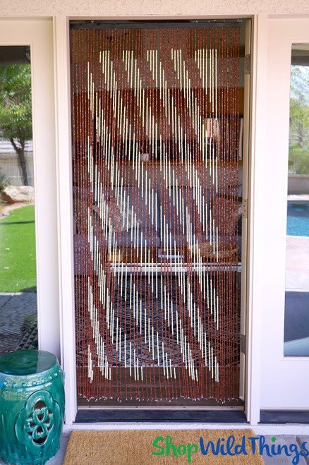 """Wooden Bead Curtain - """"Diagonal Dream"""" Brown & Cream Stripes - 35"""" x 78"""" - 60 Strands (Extra Coverage)"""