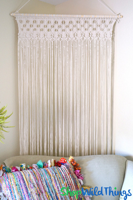 """Macrame Tapestry Curtain 39""""W x 6.5'H Ivory - 184 Strands (Removable Wooden Rod)"""