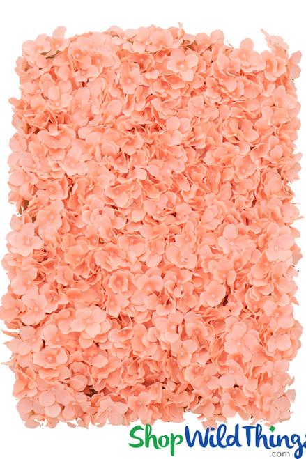 """Flower Wall 19"""" x 26 1/2"""" Premium Silk Hydrangeas - Coral Pink"""