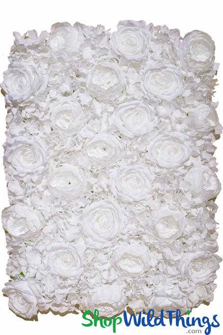 """Flower Wall 19 1/2"""" x 27"""" Premium Silk Roses, Peonies & Hydrangeas - Pure White"""