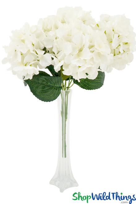 """Hydrangea Flower Bouquet Spray - 5 Heads - 17"""" - Cream"""