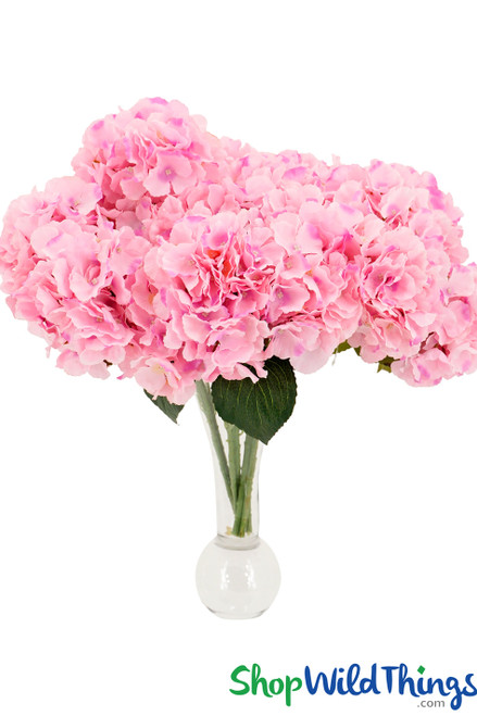 """Hydrangea Flower Bouquet Spray - 6 Heads - 17"""" - Pink"""