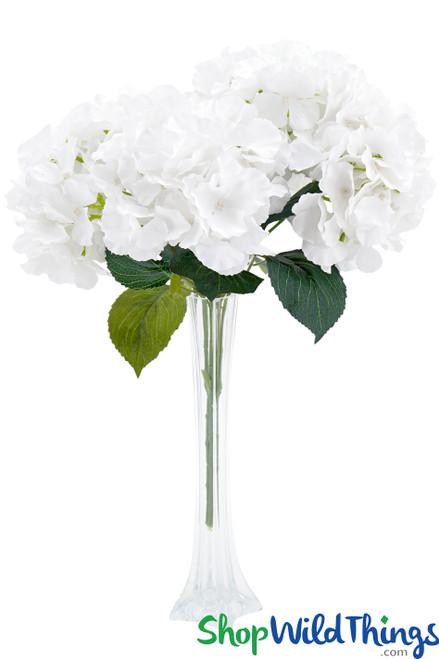 """Hydrangea Flower Bouquet Spray - 6 Heads - 17"""" - Pure White"""