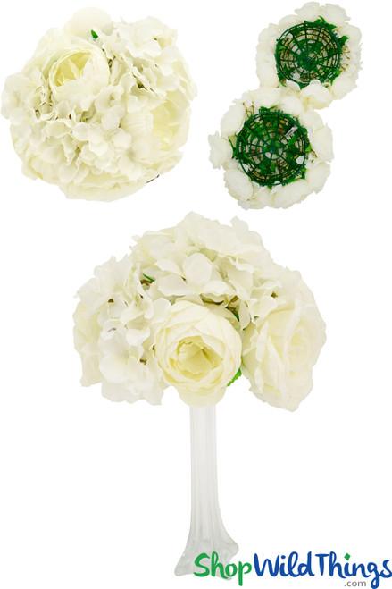 """Flower Ball 10"""" (2 in 1) Premium Silk Roses, Peonies & Hydrangeas - Cream"""