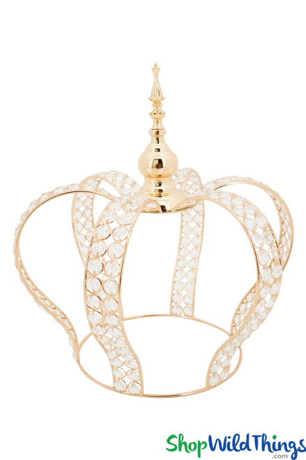 """Prestige Real Crystal Beaded Crown - 16""""H x 15""""W - Gold"""