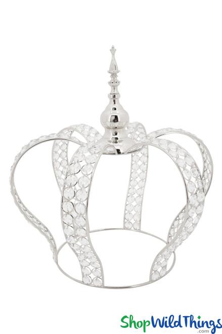 "Prestige Real Crystal Beaded Crown - 16""H x 15""W - Silver"