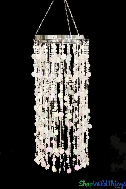 "Bubbles Party Chandelier - White Iridescent - 30"""