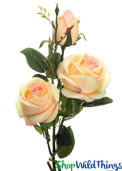 "Silk Roses Spray - 3 Heads - 31"" - Blush Pink / Yellow & Pink - BUY MORE, SAVE MORE!"