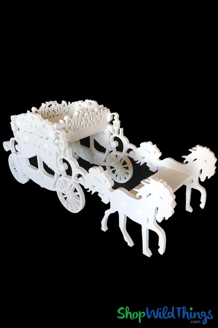 """Large Wooden Cinderella Carriage & Horses Prop - White - 27""""L x 10""""W x 11 1/2""""H"""
