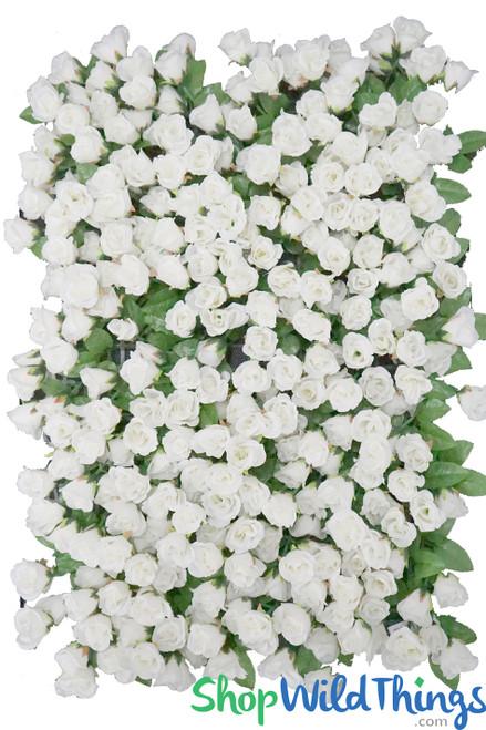 "Flower Wall 17"" x 25"" Lush Premium Silk Small Roses & Greenery - Cream"