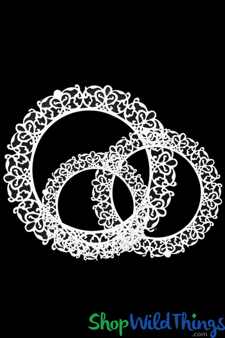 """Laser Cut Frame & Centerpiece Table Topper - 20"""", 24"""" & 31"""" White - Set of 3"""