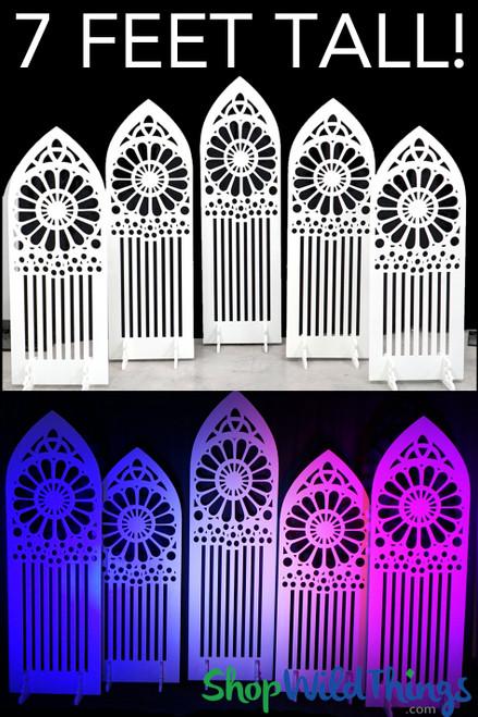 "Backdrop Room Divider Panels ""Stirling"" - 5Pc Set - White - 9'W x 6.5'H Stores Flat"