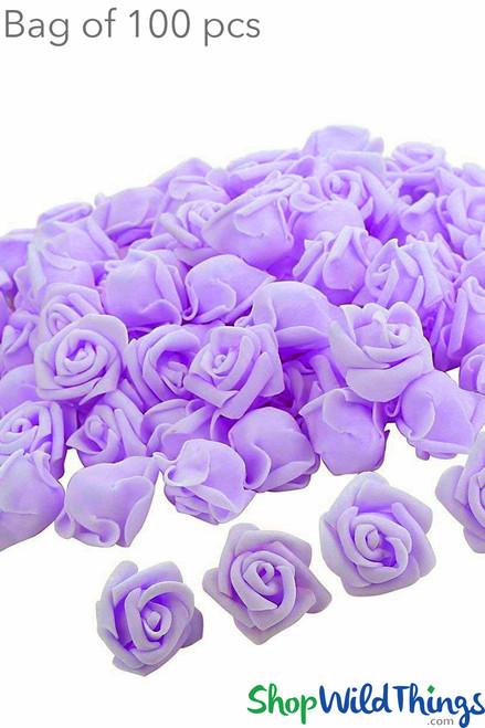 """Real Feel Foam Roses 2.5"""" - Lilac Purple - 100Pcs (Floating!)"""