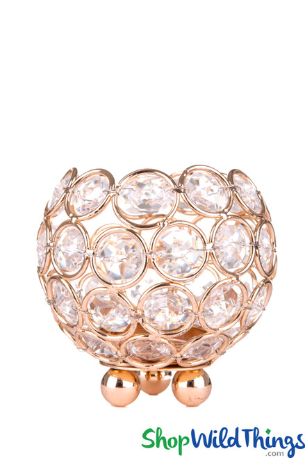 """Beaded Real Crystals Candle Holder Round Votive  """"Prestige""""  3 1/4"""" Gold - BUY MORE, SAVE MORE!"""