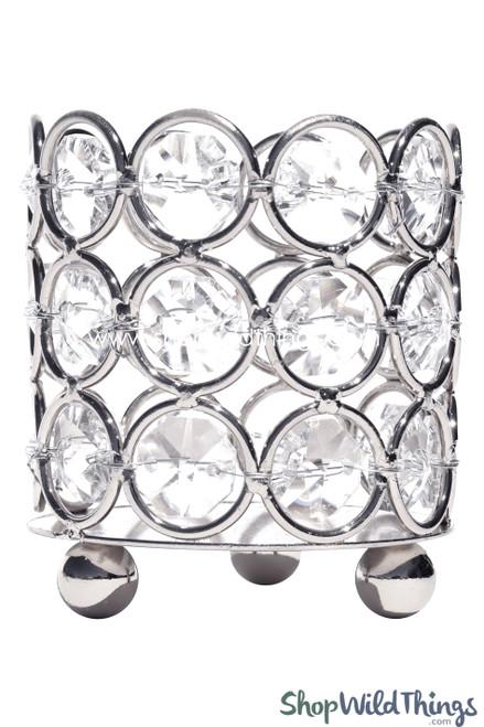 """Candle Holder - Cylinder Beaded Real Crystal - """"Prestige"""" - Crystal Gem Votive - 2 3/4"""" Silver - BUY MORE, SAVE MORE!"""