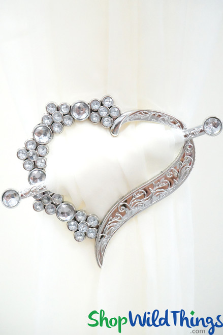 Royalty Curtain & Fabrics Tie-Back Brooches- Set of 2 Hearts - Silver