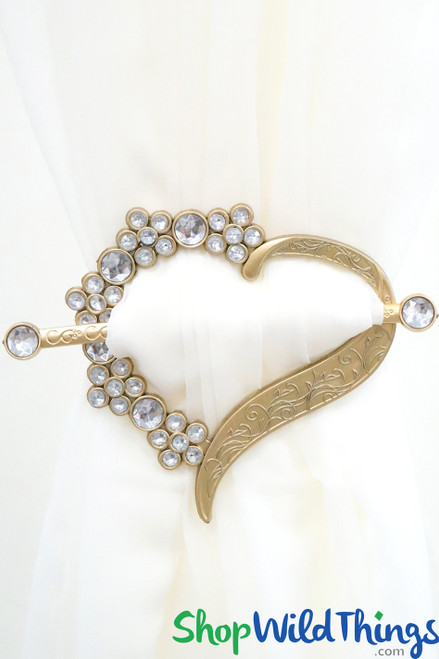 Royalty Curtain & Fabrics Tie-Backs Brooches- Set of 2 Hearts - Gold