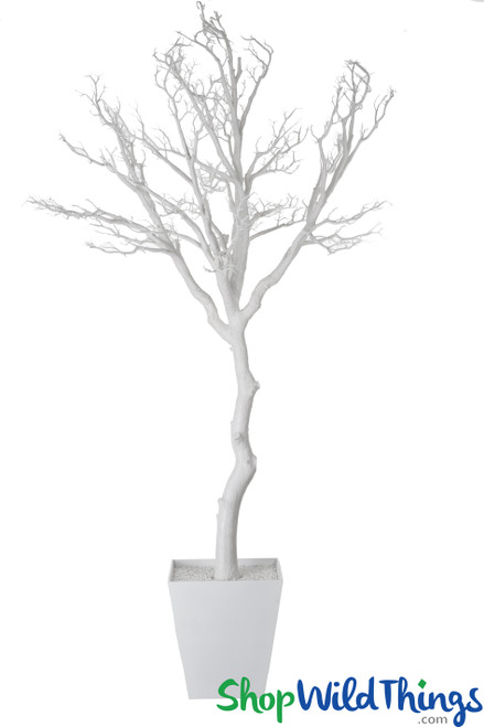 Artificial Manzanita Tree in Pot, 9 Feet Tall - Off-White (Bendable)
