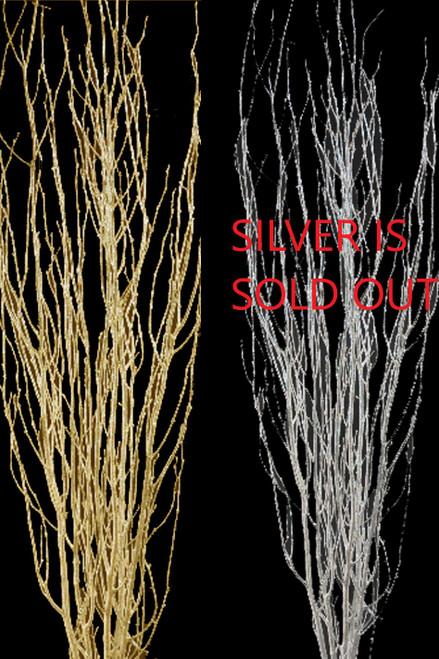 Birch Tree Branches, Heavy Glitter Metallic Silver or Gold - 2Pcs - 5' Tall