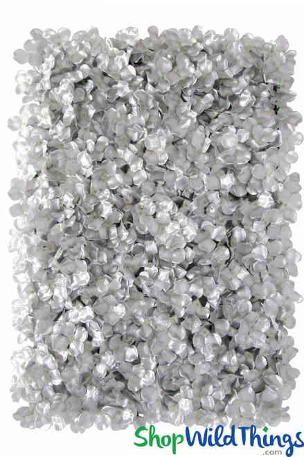 "Flower Wall 17"" x 25"" Silk Hydrangeas - Metallic Silver"