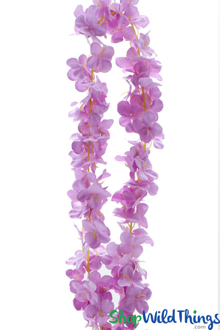 "Plumeria Frangipani Silk Flower Garland - Lavender - 80"" Long Expandable! BUY MORE, SAVE MORE!"