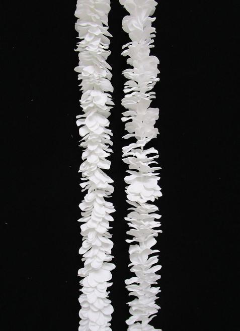 "Plumeria Frangipani Stacked Silk Garland Pure White - 78"""