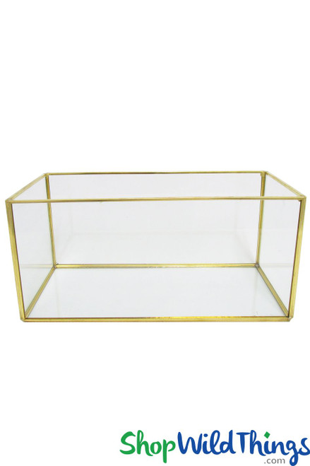 "Geometric Rectangle Terrarium & Candle Holder - Gold - 9 3/4"" Long x 4 3/4"" Wide"