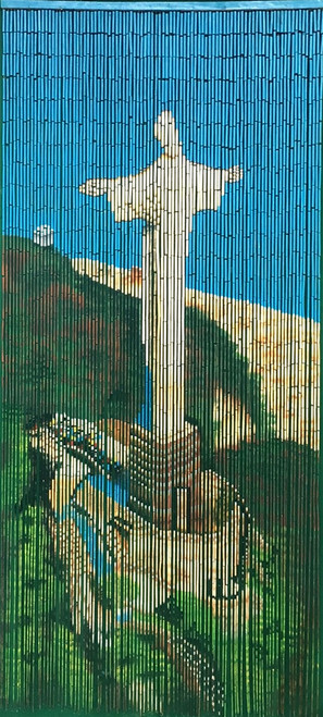 """Bamboo Painted Beaded Curtain """"Christ The Redeemer"""" - 90 Strands"""