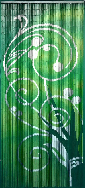 "Bamboo Painted Beaded Curtain ""Dreaming"" - 90 Strands"