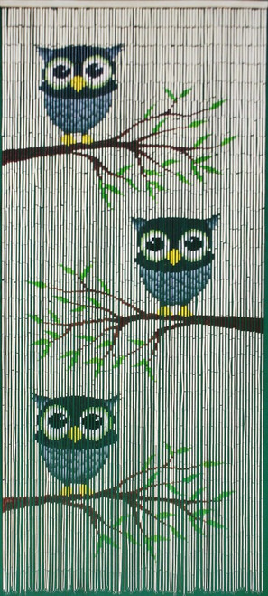"""Bamboo Painted Beaded Curtain """"Owl Family"""" - 90 Strands"""