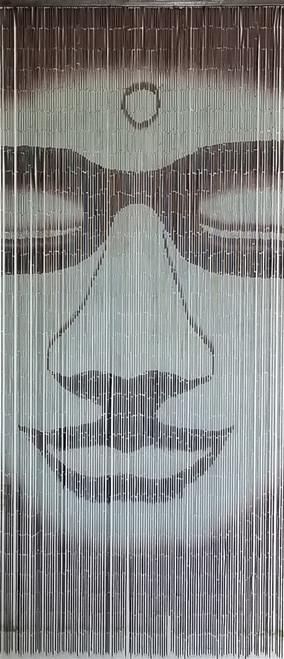 "Bamboo Painted Beaded Curtain ""Siddhartha"" - 125 Strands"