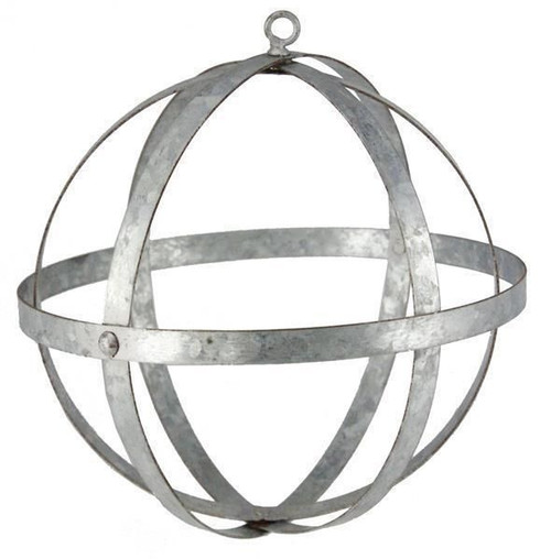 "Galvanized Metal Folding Ball, Silver 18"" - Floral Design Sphere Orb"