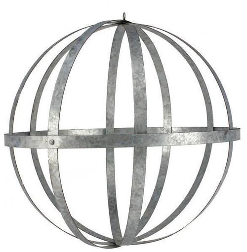 "Galvanized Metal Folding Ball, Silver 24"" - Floral Design Sphere Orb"
