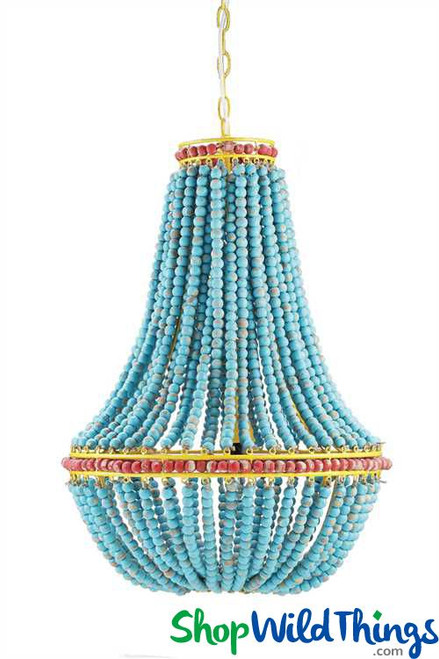 "Blue Wood Beads Chandelier, Red Trim & Yellow Chain - 17"" x 26"""