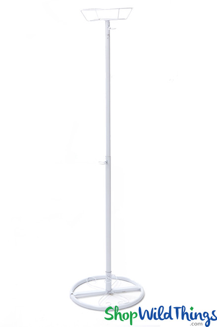 "Basket Top Floral Centerpiece Riser - Ajustable to 48"" Tall White Metal"