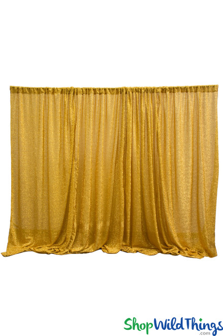 Shiny Lurex & Spandex Event Curtain 10' Tall x 20' Wide - Ceiling Drape or Backdrop - Metallic Gold