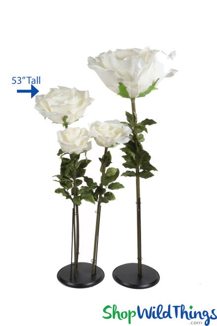 "Oversized XL Silk Rose Bloom w/Removable Stem - Ivory - 53""H x 16""W"