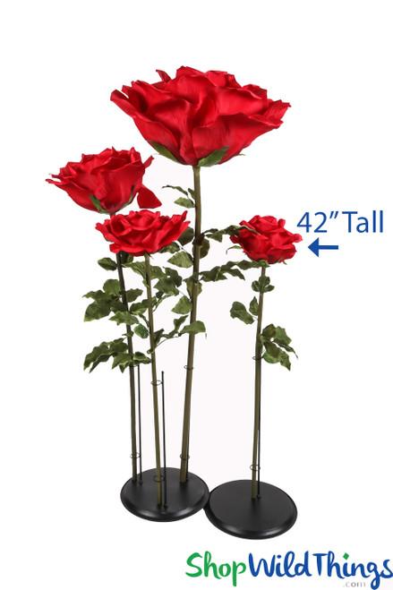 "Oversized Medium Silk Rose Bloom w/Removable Stem - Red - 42""H x 9""W"
