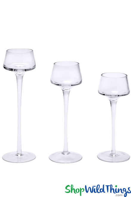 """Tall Glass Candle Holders - Set of 3 - Long Stem - 8"""", 9"""", 10 1/4"""""""