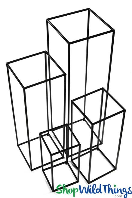 "Floral & Centerpiece Riser ""Copenhagen"" Set of 4 Black - Nesting Harlow Stands"