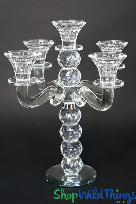 """Crystal 5 Cup Candelabra """"Scarlett"""" - 11 1/2"""" Tall"""