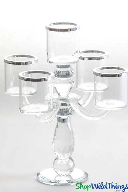 "Real Crystal 5 Cup Candelabra ""Bette Silver"" - 11 1/2"" Tall"