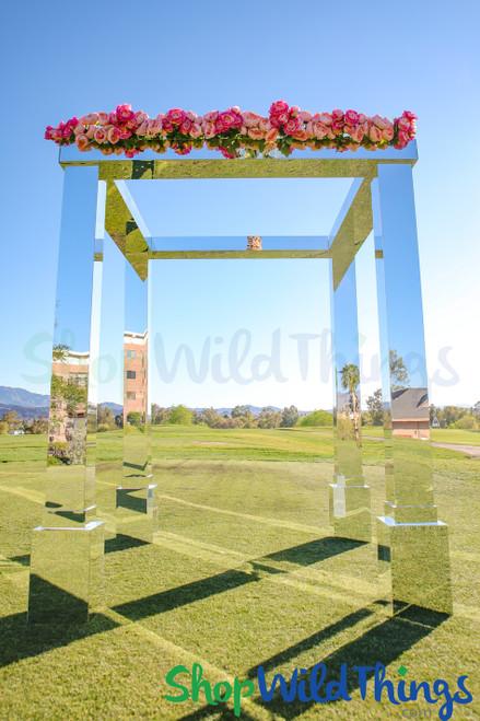Mirrored Acrylic Gazebo Chuppah Arch Wedding Ceremony Stand Silver Mirrors ShopWildThings
