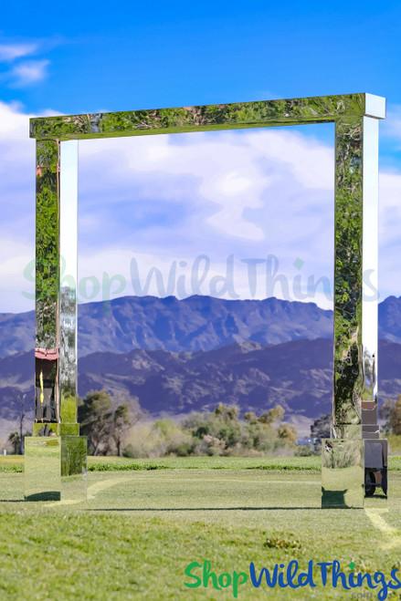 Mirrored Silver Acrylic Modern Wedding Arch 10' Wide x 10' Tall (2 LEGS + 2 BASES + 1 TOP)