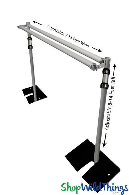 Pipe & Drape Backdrop Hardware Kit Professional Series - 8'-14' Tall x 7'-12' Wide 2 Tier Backdrop