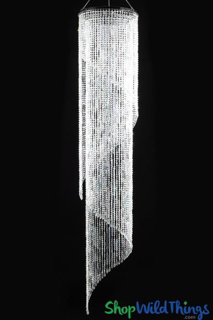"""Chandelier """"Nicole"""" - Swirl Crystal Iridescent - 5.8' ft"""