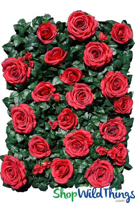 "Flower Wall 19"" x 25"" Premium Silk Roses & Green Leaves - Red"