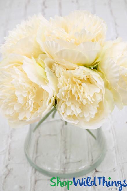"Silk Peony Bouquet or 5 Individual Stems - Cream - 12"" Tall"